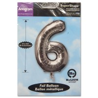 6 Silver Number Foil Balloon Not Inflated from Balloon Shop NYC