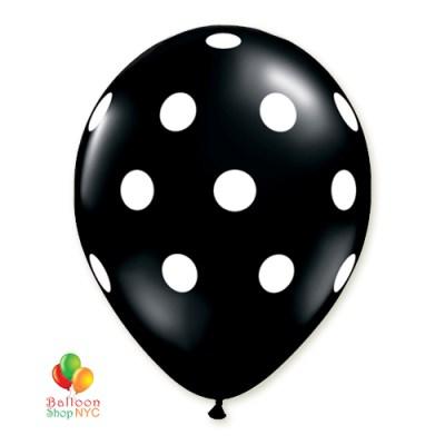 Black Polka Dot Printed Latex Party Balloon 12 inch Inflated - cheap balloons from Balloon Shop NYC