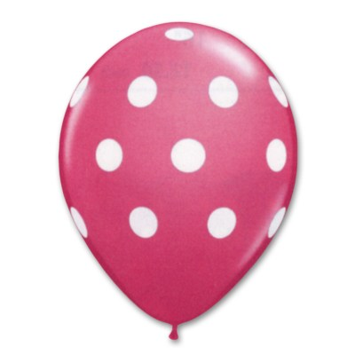Bright Pink Polka Dot Printed Latex Party Balloon 12 inch high-quality cheap balloons nyc delivery