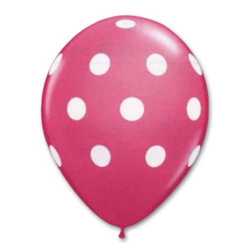 Bright Pink Blue Latex Party Balloons Polka Dot 12 inch from Balloon Shop NYC