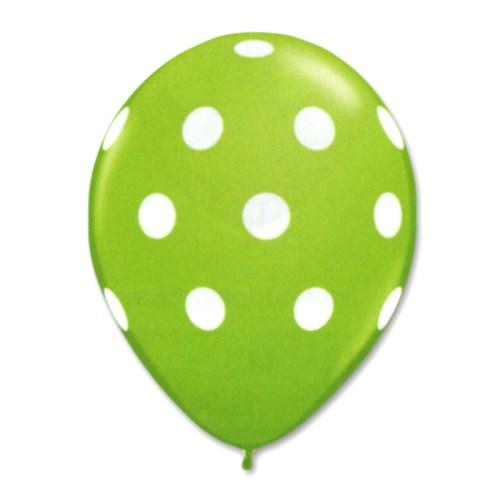 Kiwi Latex Party Balloons Polka Dot 12 inch from Balloon Shop NYC