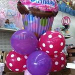 Pink and Purple Happy Birthday Cupcake Balloon Bouquet