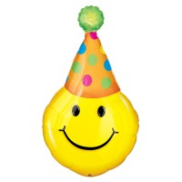 Party Hat Smile Foil Party Mylar Balloon from Balloon Shop NYC