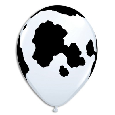 Cow Print Black and White Printed Latex Balloon from Balloon Shop NYC