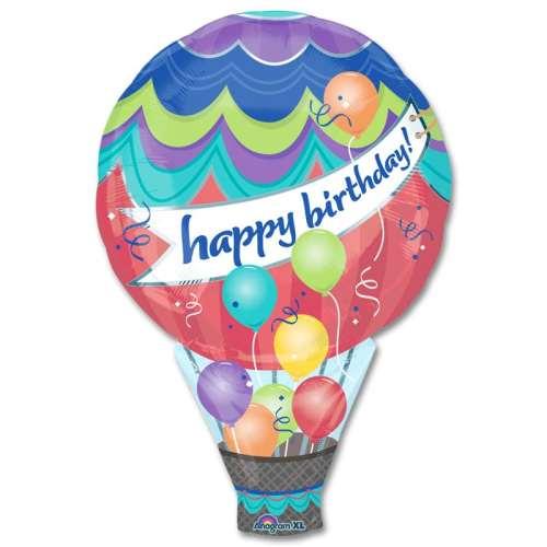 Happy Birthday Hot Air Balloon Mylar Balloon 34 Inch from Balloon Shop NYC