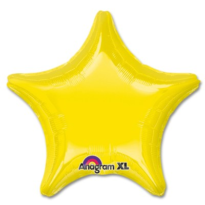 Citrine Yellow Star Solid Color Foil Party Balloon 19 inch from Balloon Shop NYC