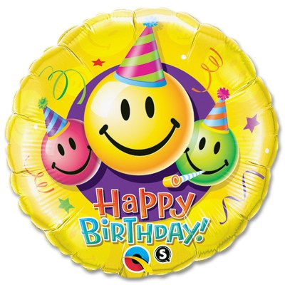 Birthday Smiley Faces Mylar Party Balloon from Balloon Shop NYC