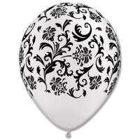 White with Black Damask Print Latex Party Balloon From Balloons Shop NYC