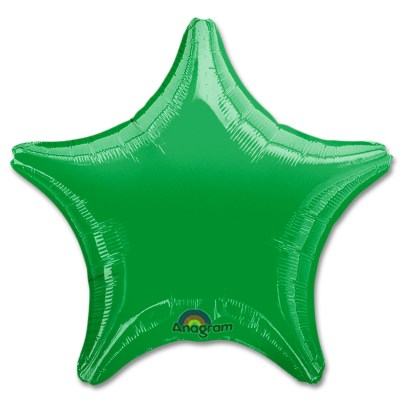 Metallic Green Star Solid Color Foil Party Balloon 19 inch from Balloon Shop NYC