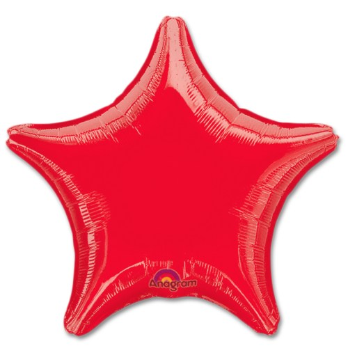 Metallic Red Star Solid Color Foil Party Balloon 19 inch from Balloon Shop NYC