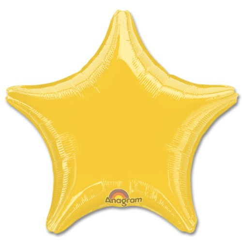 Metallic Gold Star Solid Color Foil Party Balloon 19 inch from Balloon Shop NYC