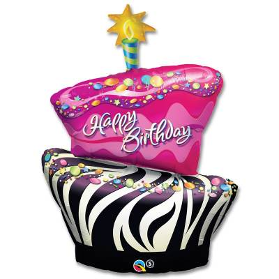 Happy Birthday Funky Zebra Stripe Cake Mylar Balloon 41 Inch from Balloon Shop NYC