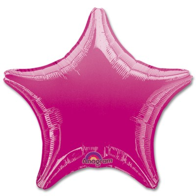 Fuchsia Star Solid Color Foil Party Balloon 19 inch from Balloon Shop NYC