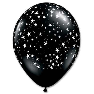 Black White Stars Latex Party Balloon 12 inch Inflated delivery Balloons Shop NYC