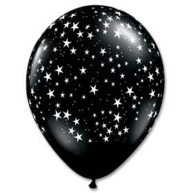 Black with White Stars Latex Party Balloon 12 Inch from Balloons Shop NYC