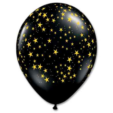 Black with Gold stars Latex Party Balloons from Balloons shop NYC