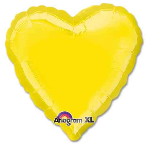 Citrine Yellow Heart Shape 18 Inch Mylar Party Balloon from Balloons Shop NYC
