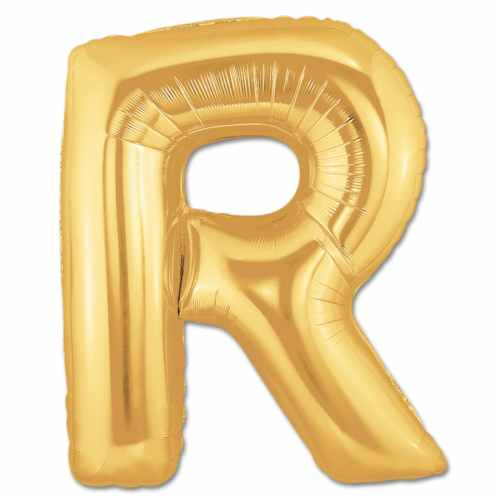 Jumbo Foil Gold 40 inch Letter R Balloon from Balloons Shop NYC