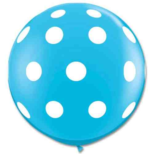 Latex Party Balloon 36 Inch Round Robin Egg Blue White Polka Dots from Balloons Shop NYC