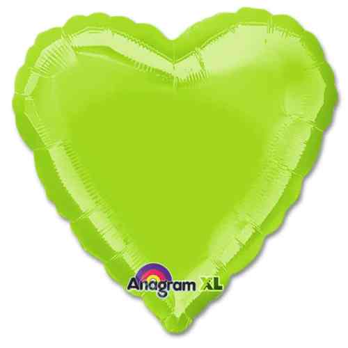 Lime Green Heart Shape 18 Inch Mylar Party Balloon from Balloons Shop NYC