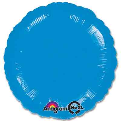 Metallic Blue Circle 18 Mylar Party Balloon from Balloons Shop NYC