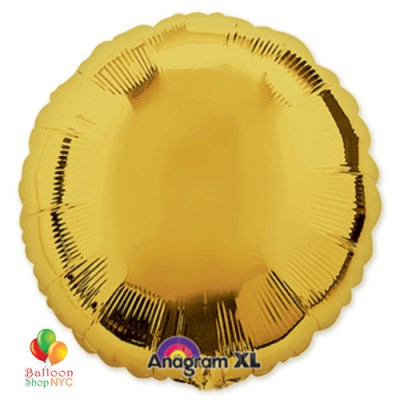 Metallic Gold Round Mylar Balloon 18 inch Inflated Delivery in New York From Balloon Shop NYC