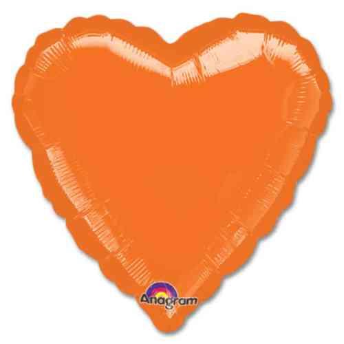 Metallic Orange Heart Shape 18 Inch Mylar Party Balloon from Balloons Shop NYC