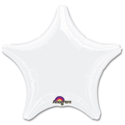 Opaque White Star Solid Color Foil Party Balloon 19 inch from Balloon Shop NYC