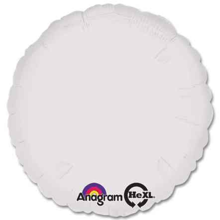 Opaque White Circle 18 Mylar Party Balloon from Balloons Shop NYC