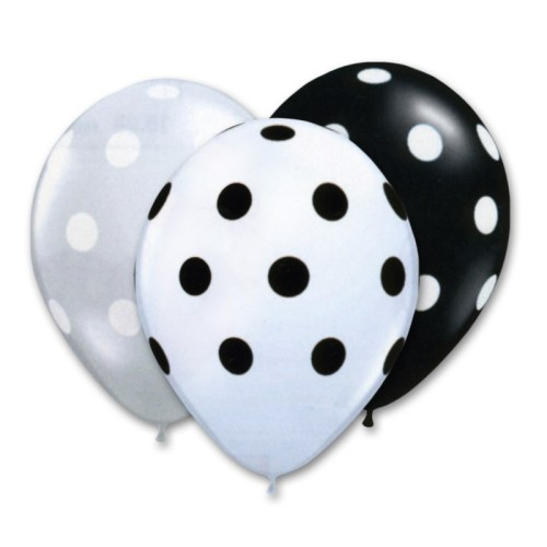 Black and White Assortment Latex Party Balloons Polka Dot 12 inch