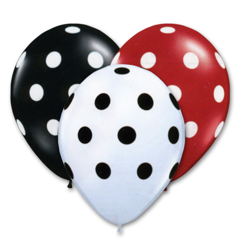 black red and white polka dots