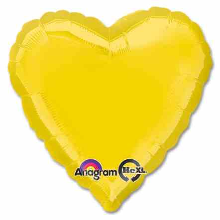 Yellow Heart Shape 18 Inch Mylar Party Balloon from Balloons Shop NYC