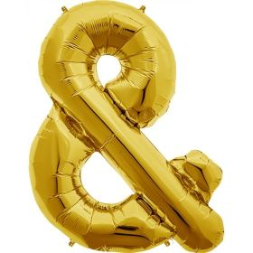 Sign & Ampersand Gold 34 inch Foil Balloons from Balloons Shop NYC