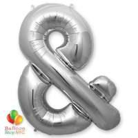 Jumbo-FoiJumbo Foil Silver 40 inch Ampersand Balloon