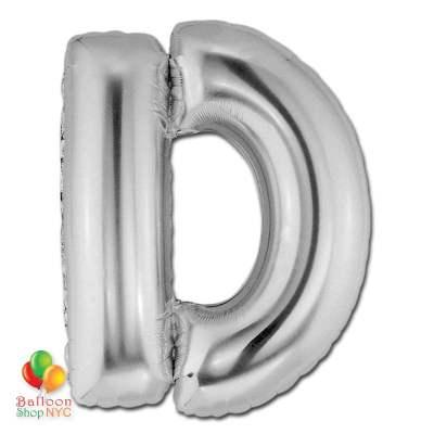 Jumbo-FoiJumbo Foil Silver 40 inch Letter D Balloon