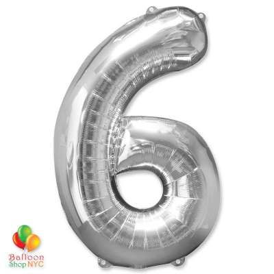 Jumbo Foil Silver 40 inch Number Six Balloon