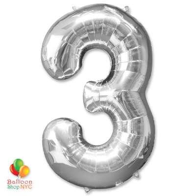 Jumbo Foil Silver 40 inch Number Three Balloon