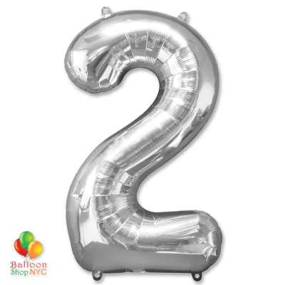 Jumbo Foil Silver 40 inch Number Two Balloon