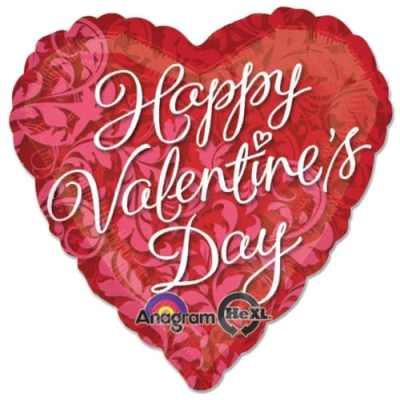 Hvd Elegant Swirls Valentines Day Mylar Balloons from Balloon Shop NYC