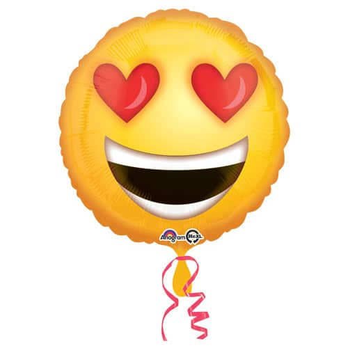 Valentines Day Mylar Balloon Emoji Love 18 inch delivery from Balloon Shop NYC