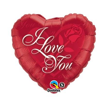 Valentines Day Mylar Balloon Heart I Love You Red Rose 18 inch delivery from Balloon Shop NYC