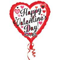Valentines Day Mylar Balloon Red and Black 18 Inch delivery from Balloon Shop NYC
