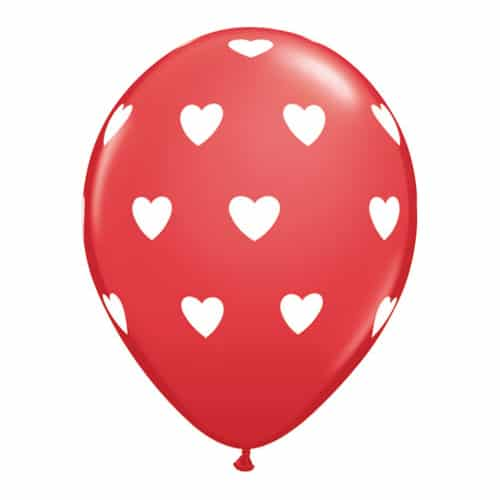 Valentines Day Mylar Balloon White Hearts on Red 11 Inch delivery from Balloon Shop NYC