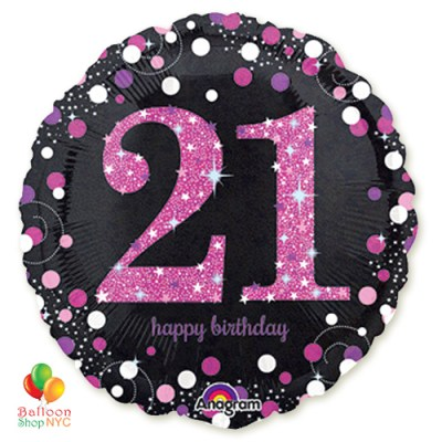 Pink Celebration 21 Holographic 18 Inch Mylar Balloon Inflated high-quality cheap balloons nyc delivery