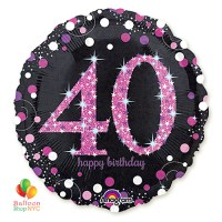 Pink Celebration 40th Holographic 18 Inch Mylar Balloon Inflated high-quality cheap balloons nyc delivery