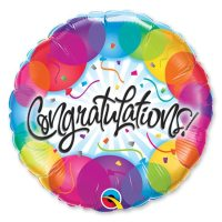 Congratulations Rainbow Mylar Balloon 18 Inch Inflated delivery Balloon Shop NYC