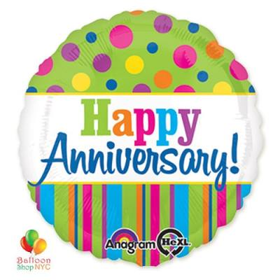 Happy Anniversary Dots & Stripes Mylar Balloon delivery from Balloon Shop NYC