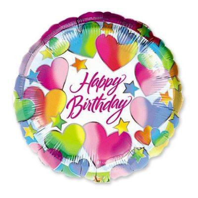 Happy Birthday Hearts Mylar Balloon Delivery from Balloon Shop NYC