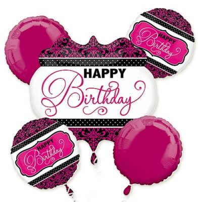 Pink Happy Birthday Mylar Balloon Bouquet Inflated delivery from Balloon Shop NYC