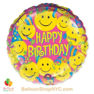 Happy Birthday Smiley Faces Fun Mylar Balloon 18 Inch Inflated high-quality cheap balloons nyc delivery